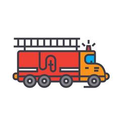 fire engine car flat line concept vector image