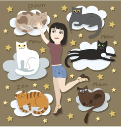Girl with funny cats on clouds vector image vector image