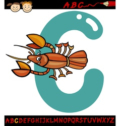 letter c for crayfish cartoon vector image