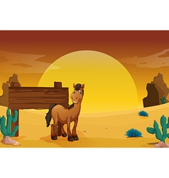 Wooden sign in the western desert ground vector image vector image