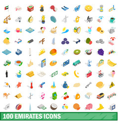 100 emirates icons set isometric 3d style vector