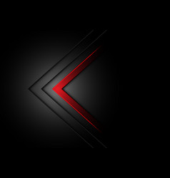 abstract red arrow direction dim light on black vector image