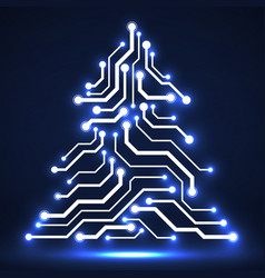 abstract technology christmas tree circuit board vector image