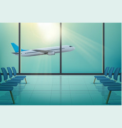 Airplane in windows airport waiting hall vector