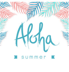 aloha summer ribbon leaves white background vector image