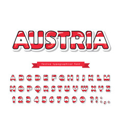 austria cartoon font austrian national flag vector image