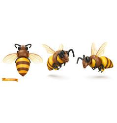 Bee bumblebee 3d cartoon icon set plasticine art vector