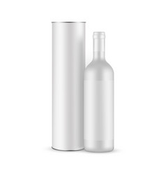 Blank ceramic wine bottle with label and tube vector