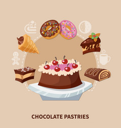 Chocolate pastries round composition vector