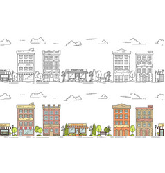 city line seamless pattern set vector image