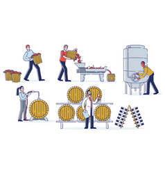 Concept wine production winemakers work on vector