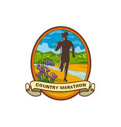 country marathon run oval retro vector image
