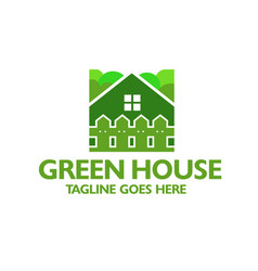 creative green house and fence logo vector image