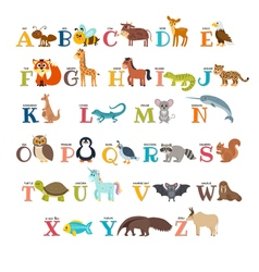 Cute zoo alphabet with animals in cartoon style vector image