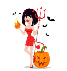 Devil girl for halloween with pumpkin and bats vector