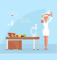 Dietician doctor testing food products in lab vector