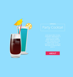 Drinks party cocktail promo poster with beverage vector