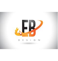 Eb e b letter logo with fire flames design vector