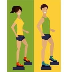 Exercising couple fitness man and woman Flat vector image