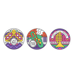 Festival logos set latino jazz live festival vector