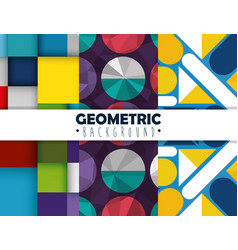 figures geometrics and colors set backgrounds vector image