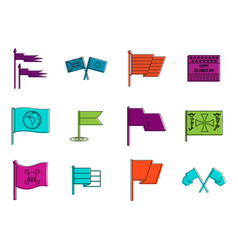 flags icon set color outline style vector image