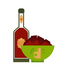 Flat beer glass bottle nachos snacks vector