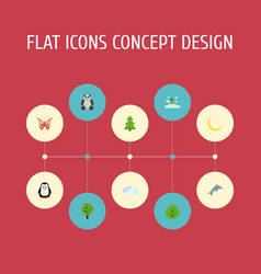 flat icons foliage sky wood and other vector image