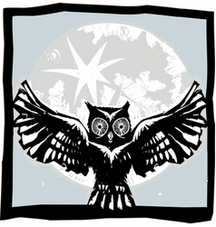 Flying owl moon color vector