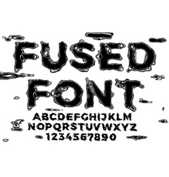 Font black liquid melt letters with glitch vector