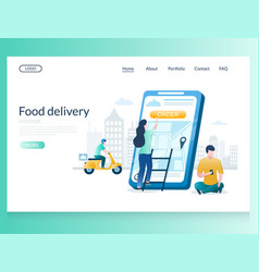 food delivery website landing page design vector image