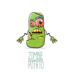 Funny cartoon cute green zombie potato vector