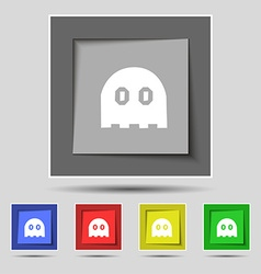Ghost icon sign on original five colored buttons vector