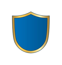 gold-blue shield shape icon bright logo emblem vector image