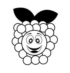 grapes fresh fruit kawaii character vector image