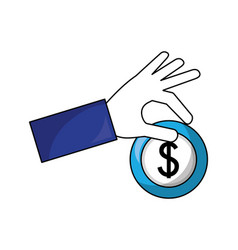hand holding coin dollar currency money vector image