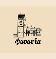 Hand sketched bavarian architecture symbol vector