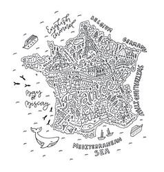 handdrawn map france vector image