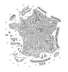 Handdrawn map of france vector