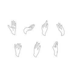 hands set in simple flat line style vector image