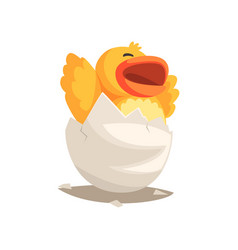 Happy duckling bahatching from egg vector