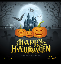 happy halloween gold message pumpkin bat vector image