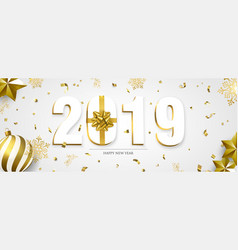 Happy new year 2019 3d holiday ornament banner vector