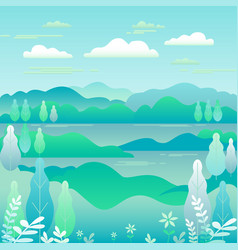 Hills landscape in flat style design valley with vector