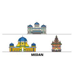 Indonesia medan flat landmarks vector