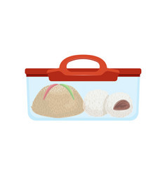Lunch box with food for kids and students vector
