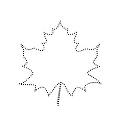 Maple leaf sign black dotted icon on vector
