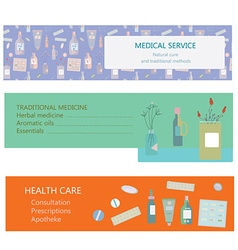 Medical banners for herbal and traditional vector image