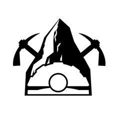 mining logo meiner emblem helmet and pickaxe and vector image