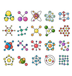 molecules flat color line color icons set vector image